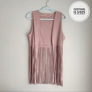 Light Pink/Dusty Suede Like Fringe Vest